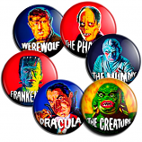 Set of 6 1960s-Style Monster Buttons!